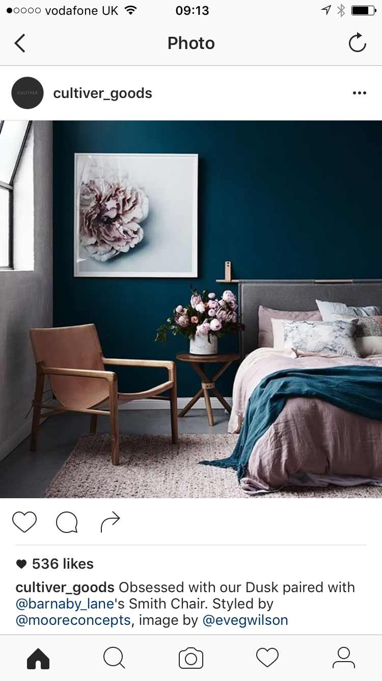 Beautiful colour contract and bed Blaue wände, Luxus