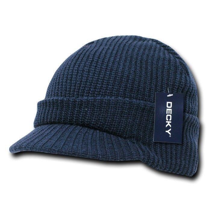 Navy Blue Visor Beanie Jeep Gi Military Ski Watch Cap Caps Hat Hats Beanies 7551be74c240