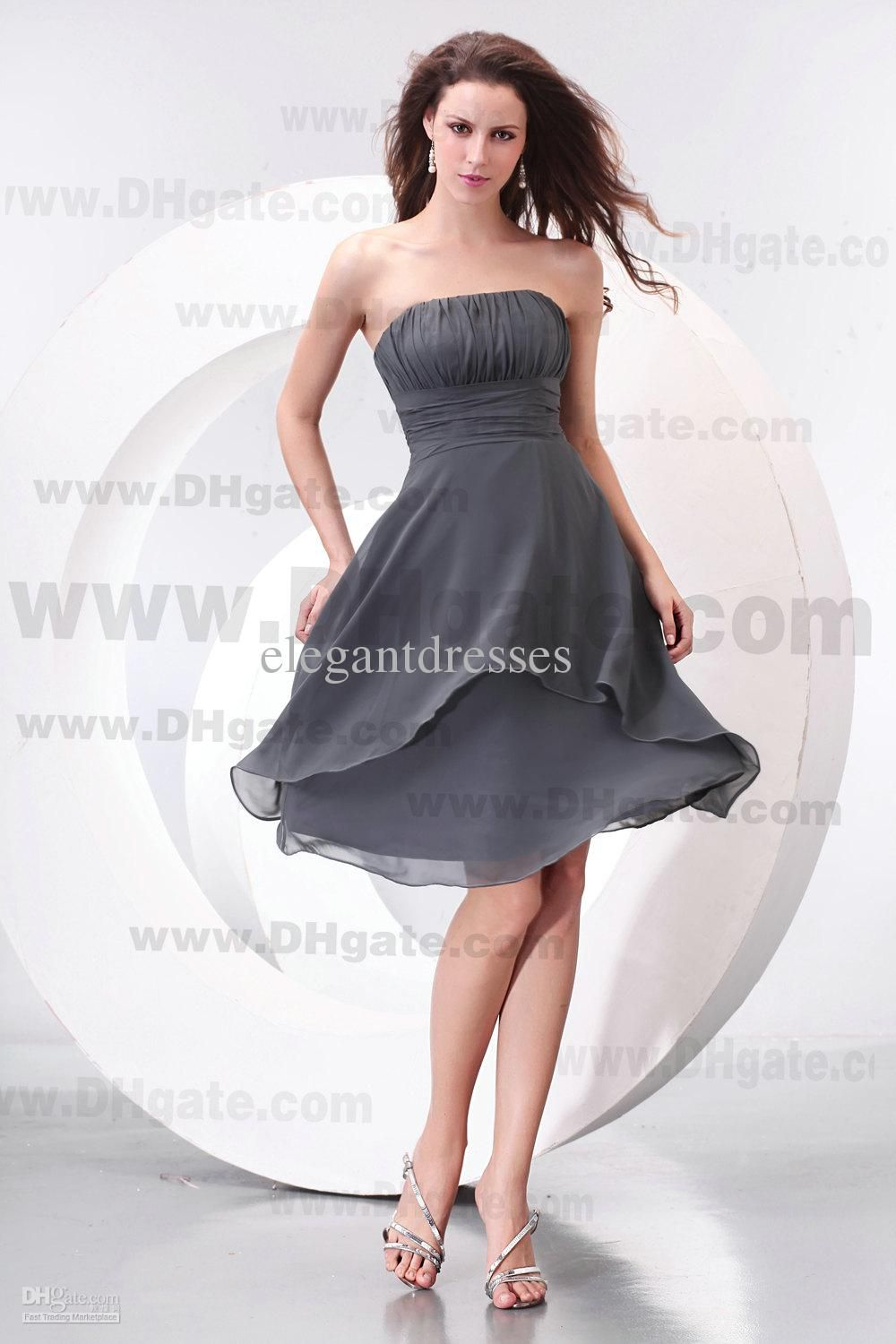 New arrival knee length strapless grey chiffon bridesmaid dress new arrival knee length strapless grey chiffon bridesmaid dress bd069 ombrellifo Gallery
