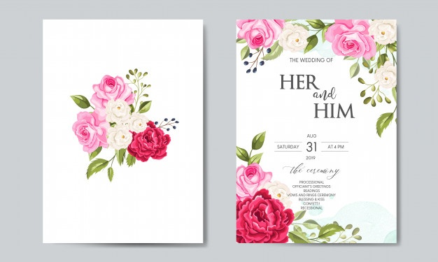 Elegant Wedding Card With Beautiful Floral And Leaves