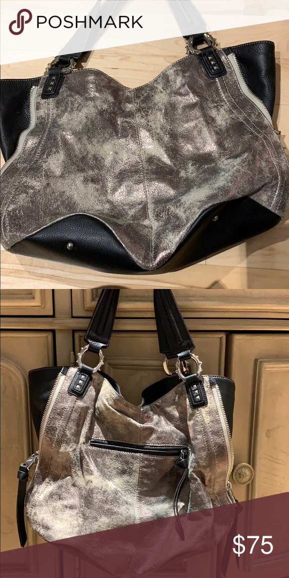 9f284179737 Aimee Kestenburg distressed leather handbag Distressed gun metal leather  shoulder bag. Very rock and roll