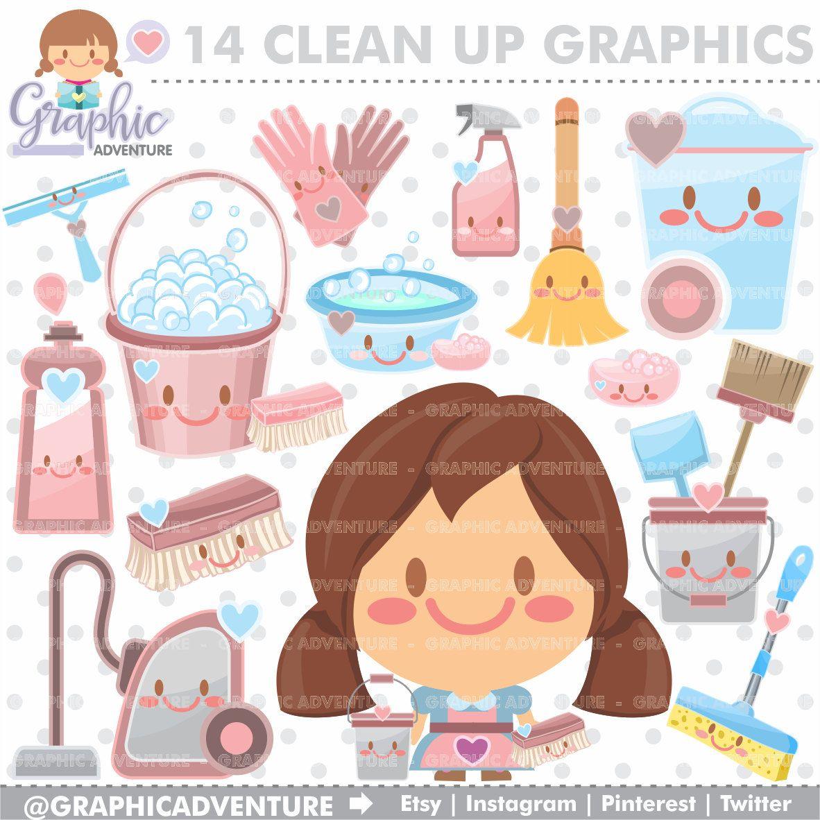 Clean Up Clipart Clean Up Graphics Commercial Use Kawaii Etsy Clip Art Kawaii Clipart Digital Alphabet