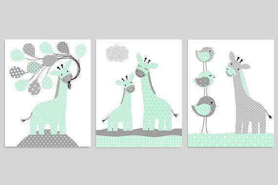 Giraffe Nursery Wall Art Decor
