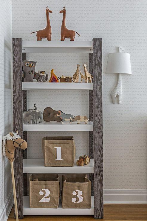 Neutral Nursery Bookshelf Styling