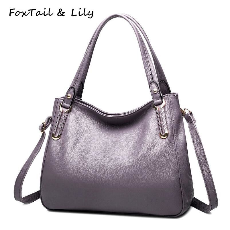 58479e5794ac FoxTail   Lily Knitted Bag Handles Genuine Leather Bags Handbags Women  Famous Brands Real Leather Shoulder Crossbody Bags Soft