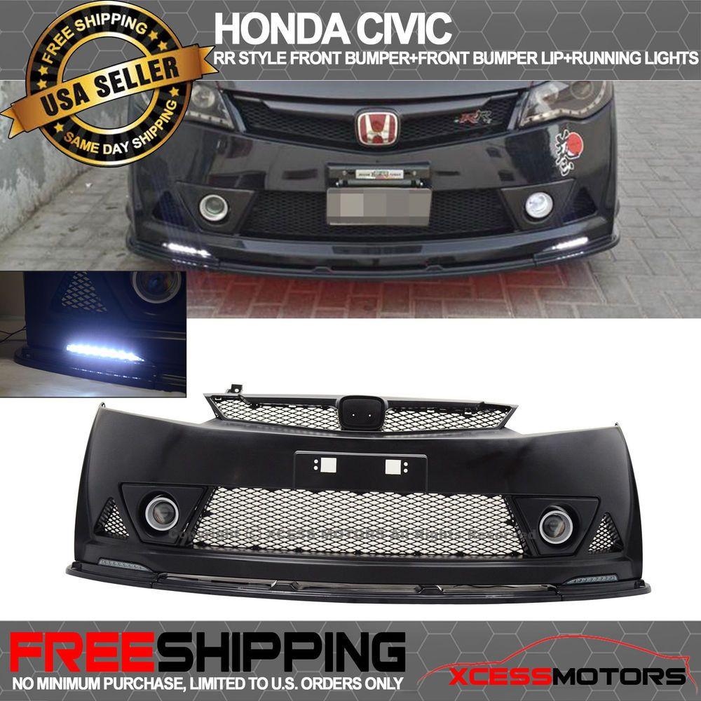 Fit 06 11 Honda Civic Mugen Rr Front Bumper Front Bumper Lip Abs Led Drl 2pc In 2021 Honda Civic Bumpers Civic