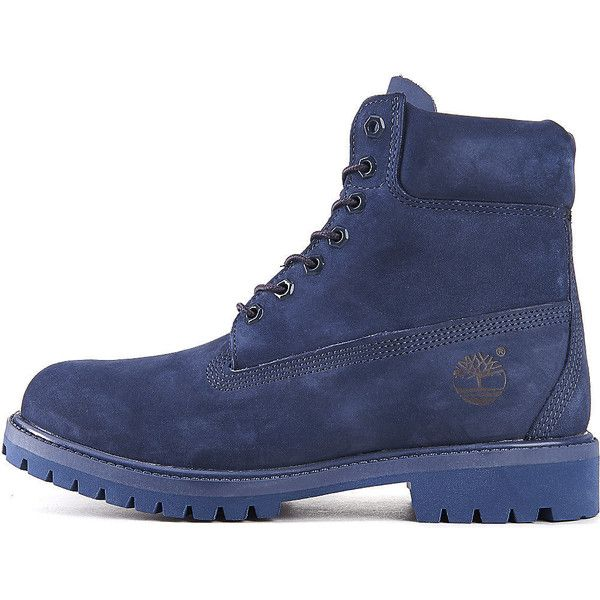 Timberland The 6 IN Premium Boot in Navy Mono ($150) ❤ liked on Polyvore  featuring men's fashion, men's shoes, men's boots, navy mono, mens navy  shoes, ...