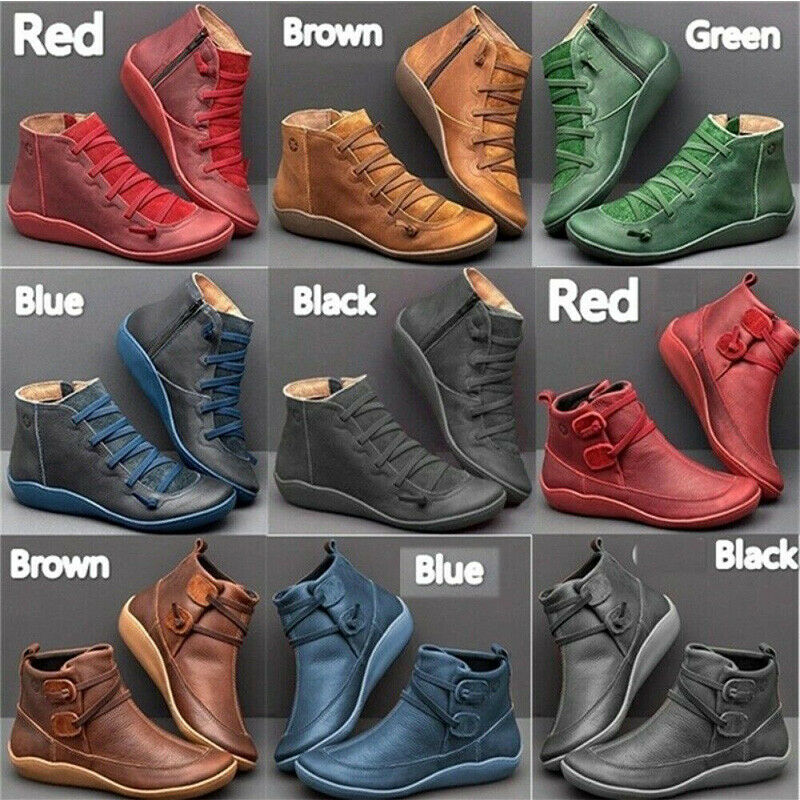 Females Autumn Arch Support Boots Black Hot Flat Heel Boots Casual Lady Booties
