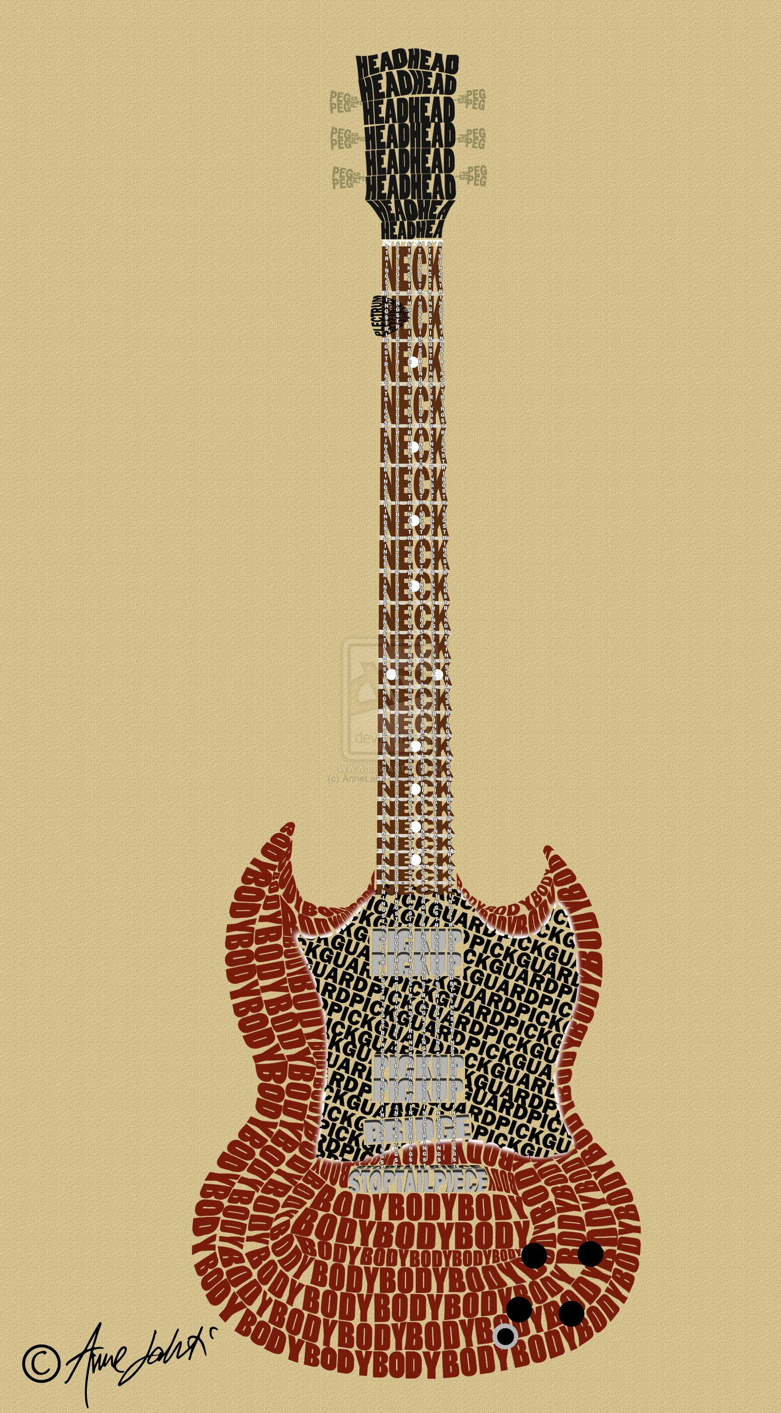 guitar anatomy typography art | Anatomy & Physiology | Pinterest ...