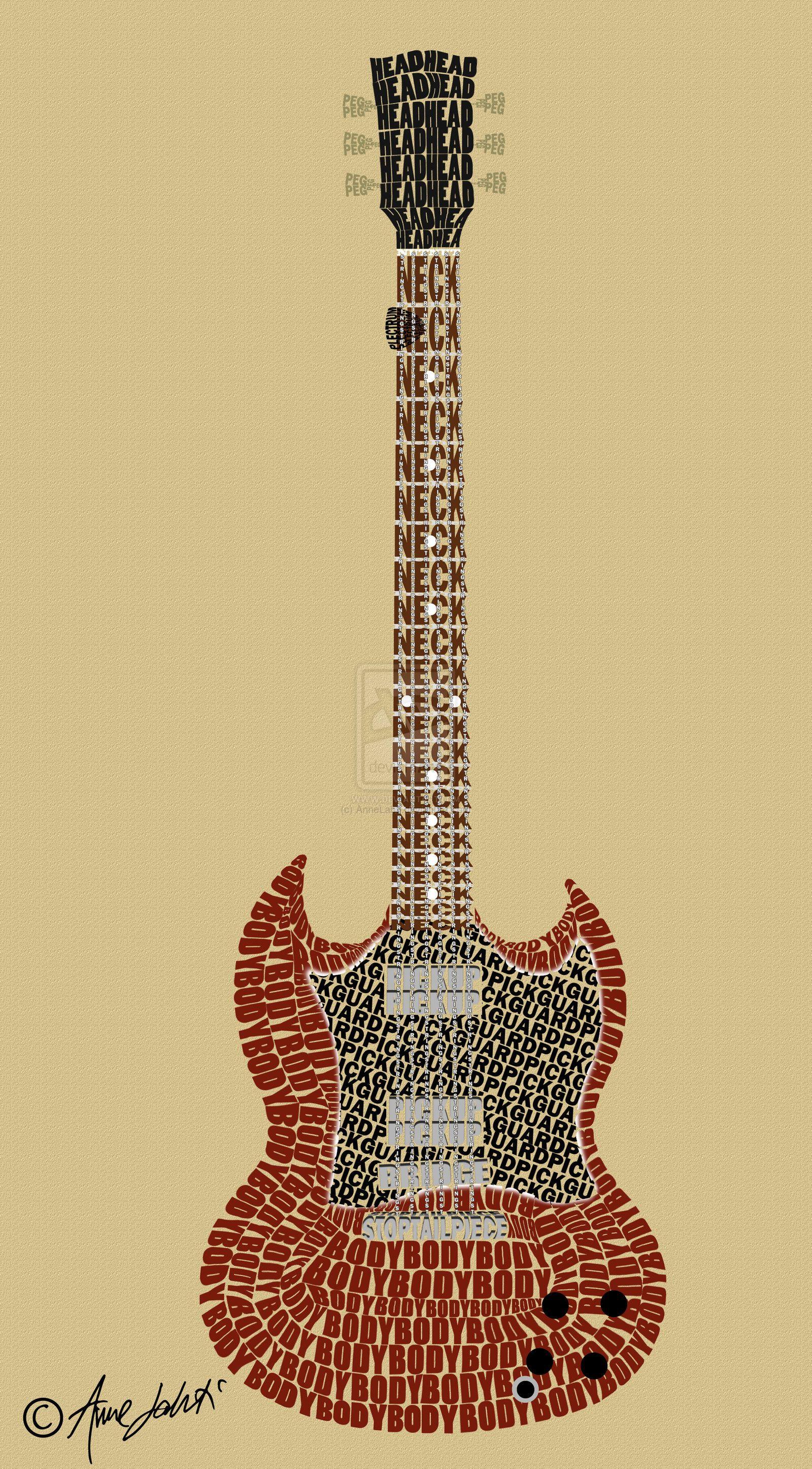 guitar anatomy typography art | Anatomy & Physiology | Pinterest ...