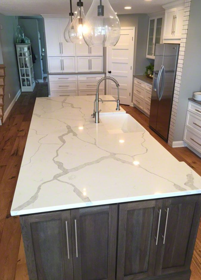 Kitchen room scene calacatta classique quartz countertop for Who makes quartz countertops