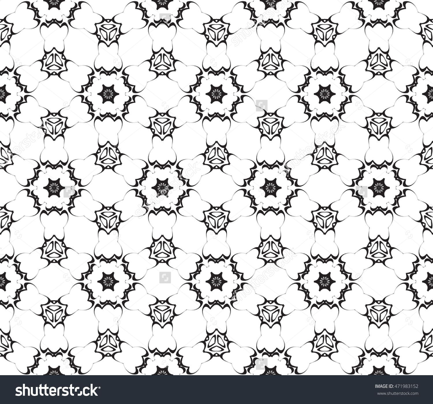 Black and white abstract illustration of a seamless pattern of