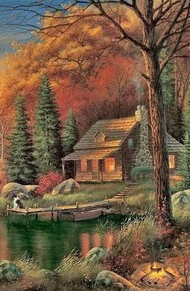 Fall Surrounds The Cabin Art Painting Art Kinkade Paintings