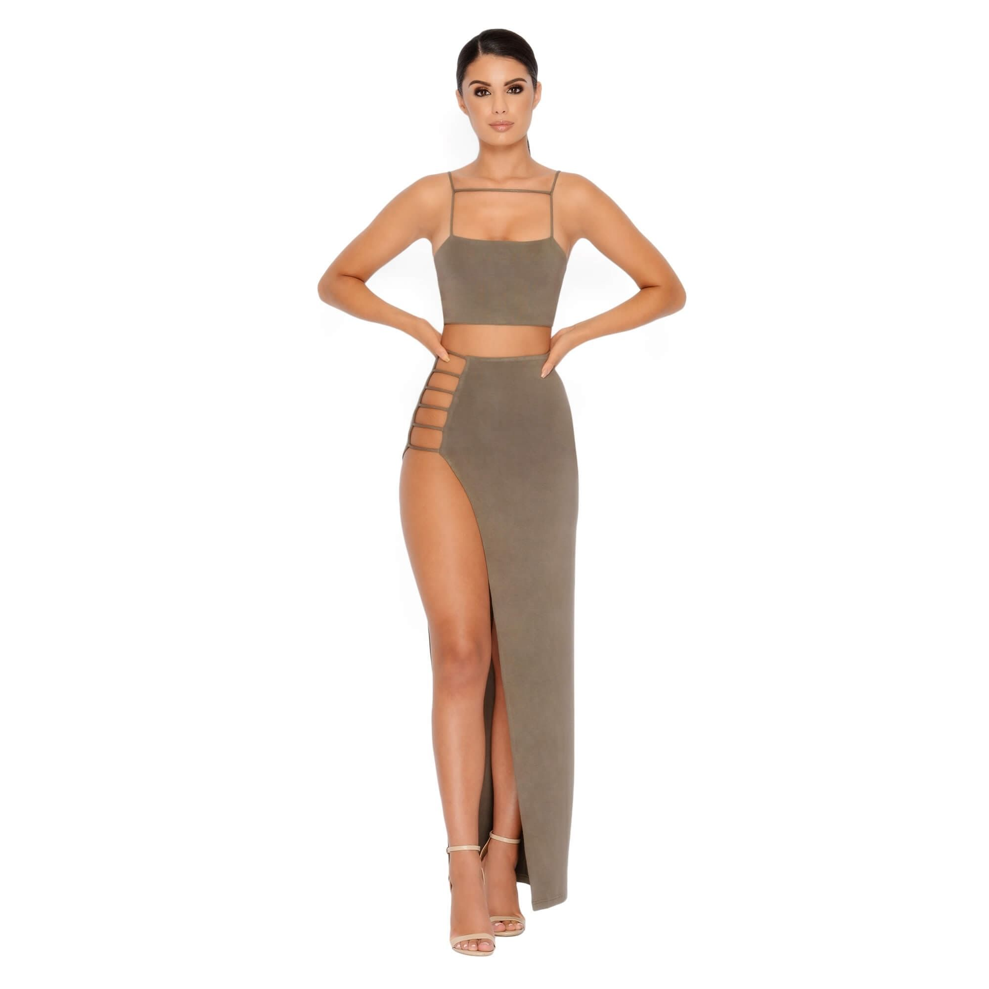 2032d3d57 Maxi skirt crop top strappy two piece - front | My Virtual Closet ...