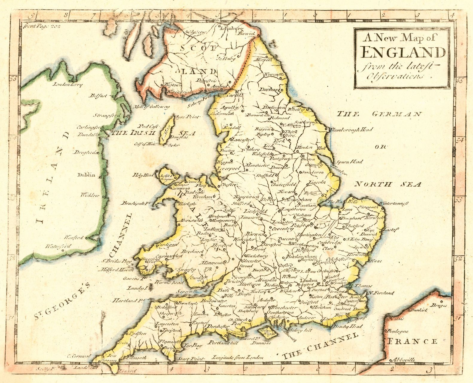 Simple Map Of England.Map Antique A New Map Of England From The Latest Observations John