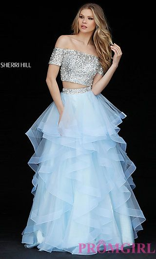 Two-Piece Sherri Hill Off-the-Shoulder Ball Gown | prom | Pinterest
