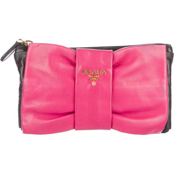 c06ef1f2b987 ... discount code for pre owned prada nappa bow clutch 220 liked on  polyvore featuring bags 409ca