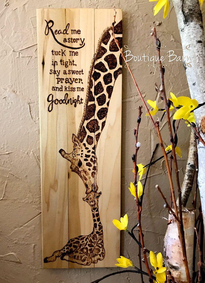 Giraffe Nursery Baby Mom Wall Decor Safari Room Wood Sign Rustic Shower Art By Boutiquebarn