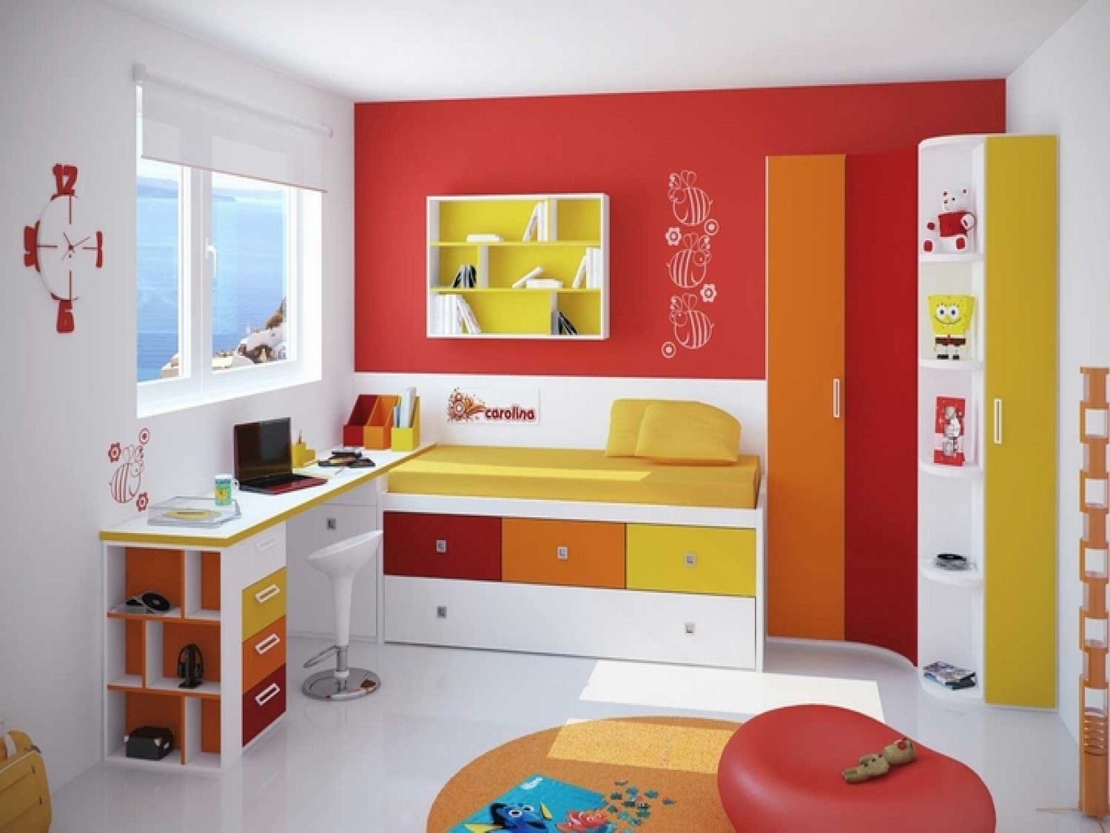Bedroom Charming Color For Kids Room With Red White Schemes On The Wall Decorating Ideas And Yellow Wooden Floating Shelves Attached
