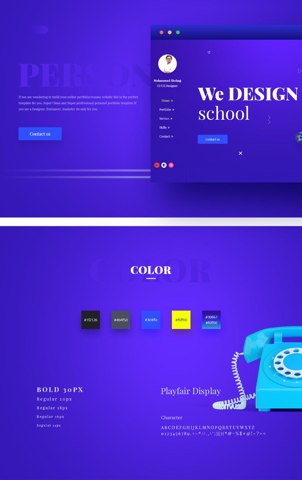 Portfolio Website Template PSD · Pinspiry in 2020