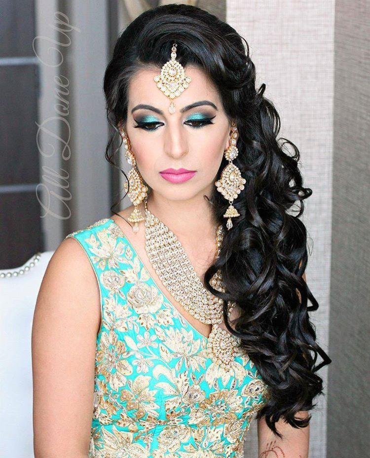 indian hair style gorgeous kundan jewelry paired with a bright teal lehenga 8000