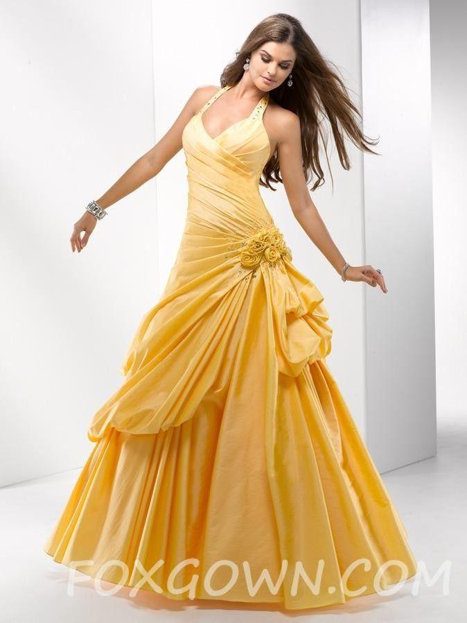 Halter a-line Prom Kleid mit rohen Kanten Rosetten Akzent gelb ...