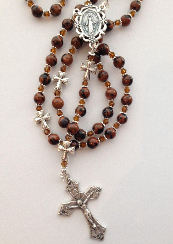 CATHOLIC Vintage Pink Quartz Crystal Beads 5 DECADE Rosary CROSS gift necklace