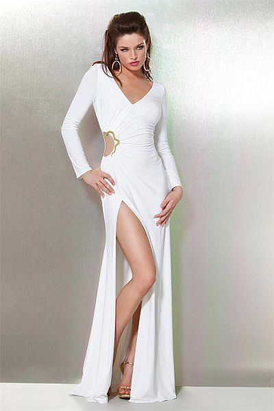 White Long Sleeve Evening Gown Photo Album - Reikian