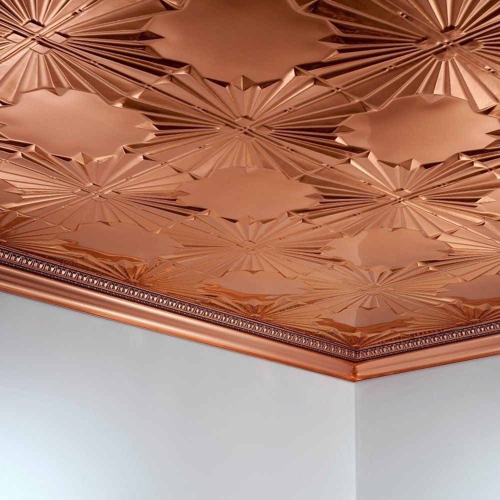 Fasade art deco polished copper brown 2 ft x 4 ft glue up fasade art deco polished copper 2 ft x 4 ft glue up ceiling dailygadgetfo Image collections