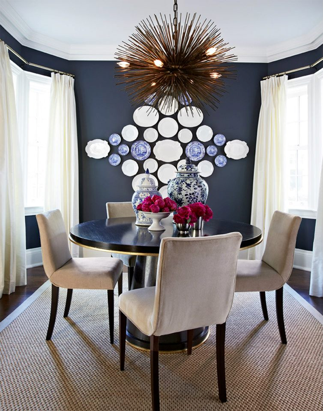 Marcus design dining room before after plate display for Blue dining room ideas