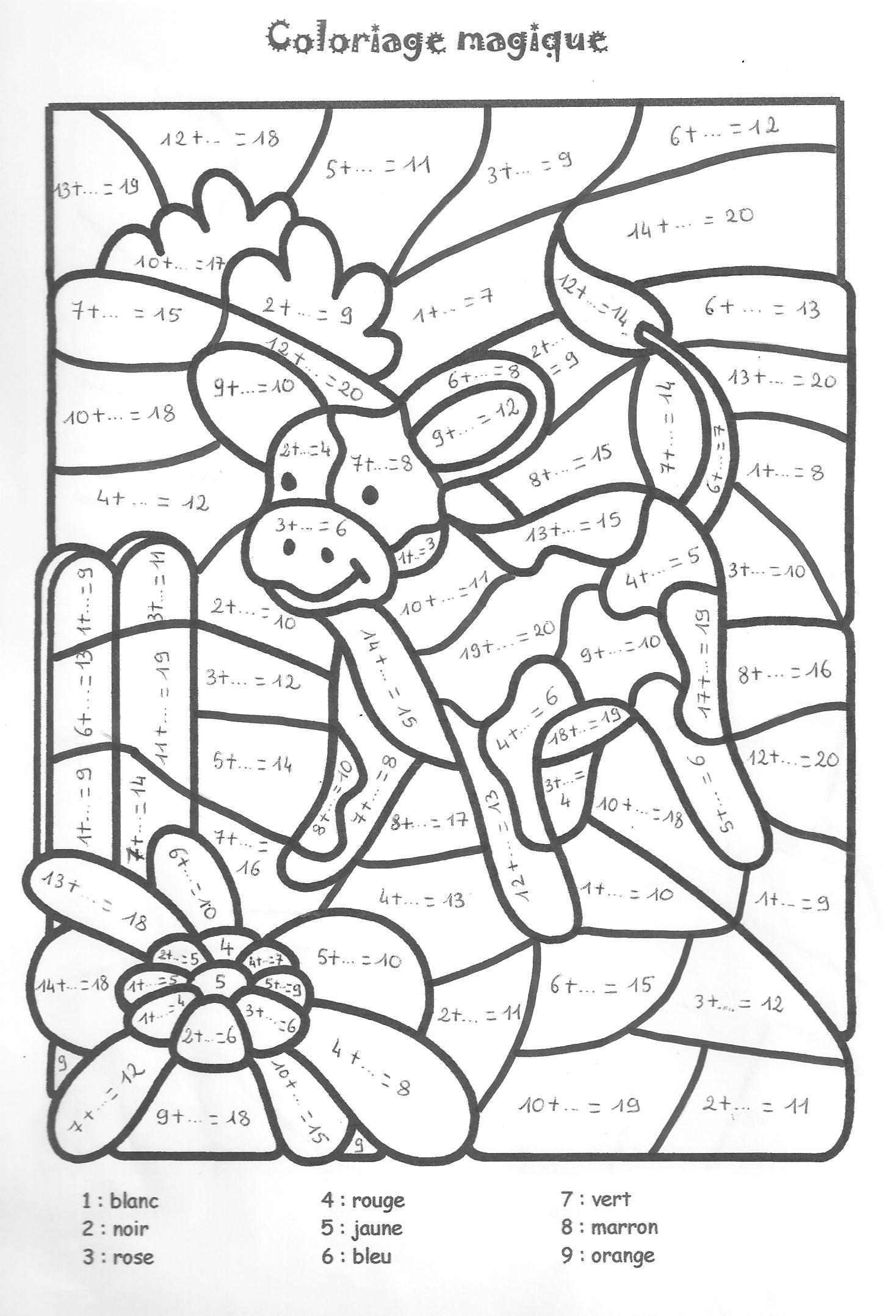 Coloriage Magique Fin Cp Maths.Coloriage Magique Cp A Colorier Dessin A Imprimer Sayi Boyama
