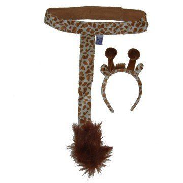 """Kids Giraffe Plush Headband Ears Tail Safari Dressup Costume Set by Making Believe. $8.99. Plush animal safari giraffe ears and tails. No explorer party is complete without them.  Two piece set includes headband and tail. Quality plush with velcro waistband. Adjustable velcro waist fits up to 24"""". Child size."""