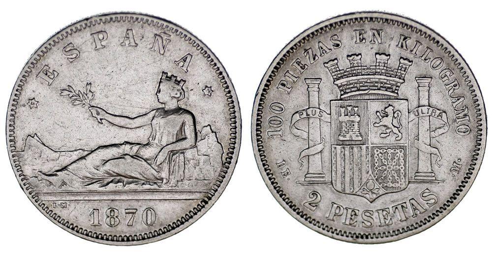 2 Pesetas Ag Provisional Government Gobierno Provisional 1870 18 75 Vf Mbc Historia De La Moneda Moneda Española Monedas