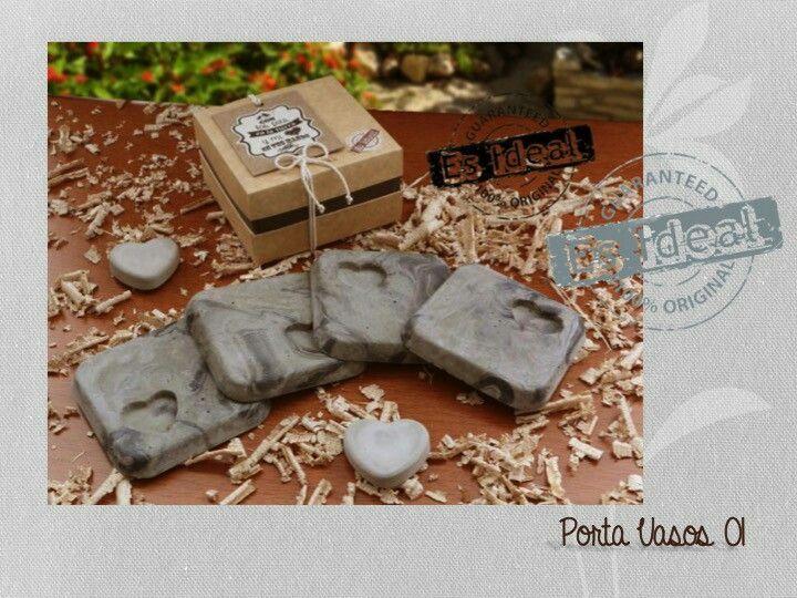 Portavasos concreto marmolizado