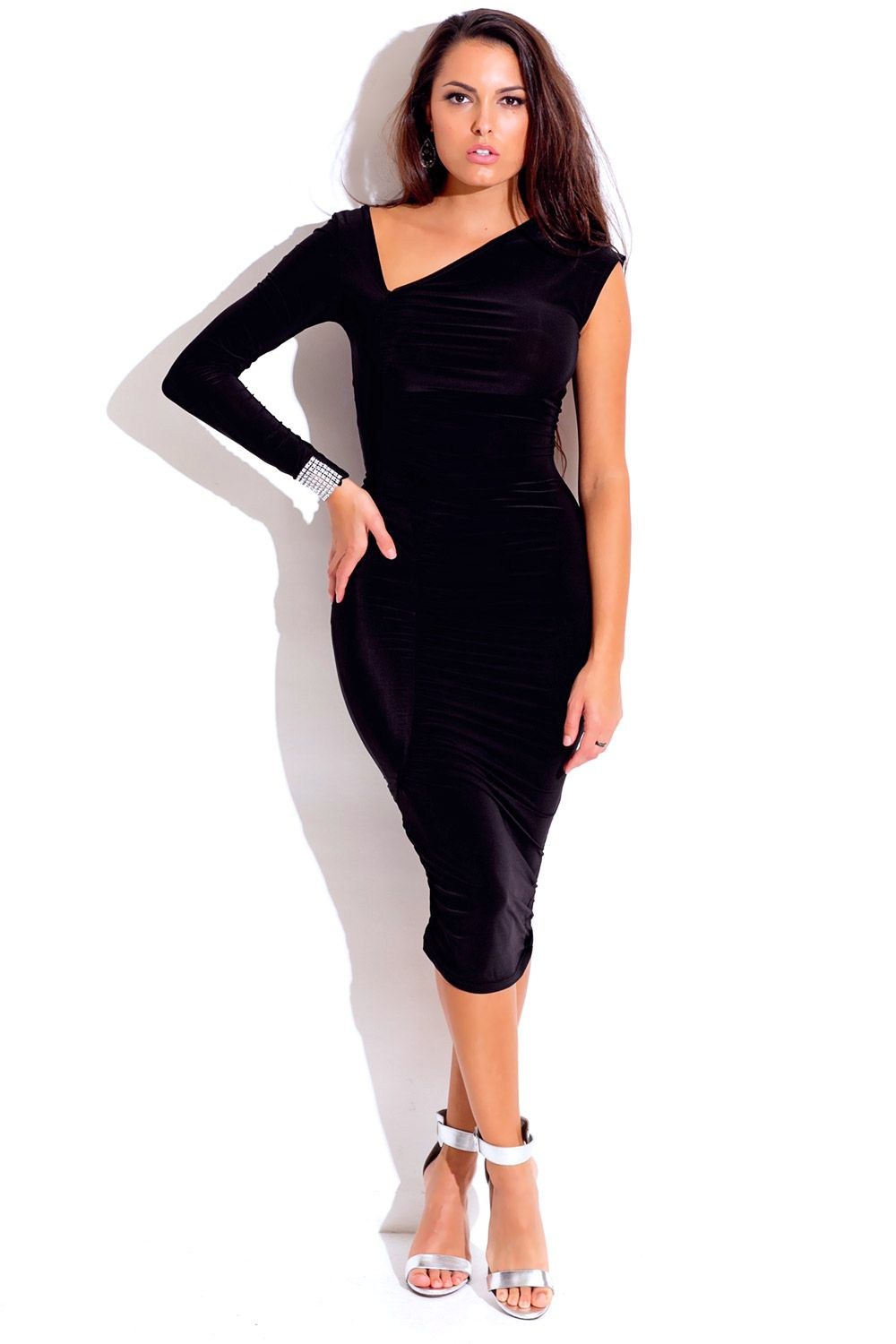 Plus Size Midnight Black Asymmetrical Ruched Bejeweled Long Sleeve Fitted Party Midi Dress Midi Dress Party Fitted Party Dress One Shoulder Midi Dress [ 1500 x 1000 Pixel ]