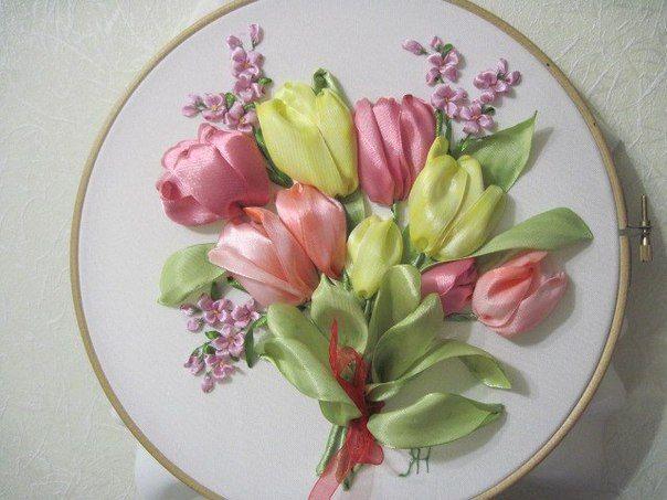 Мк цветы лентами
