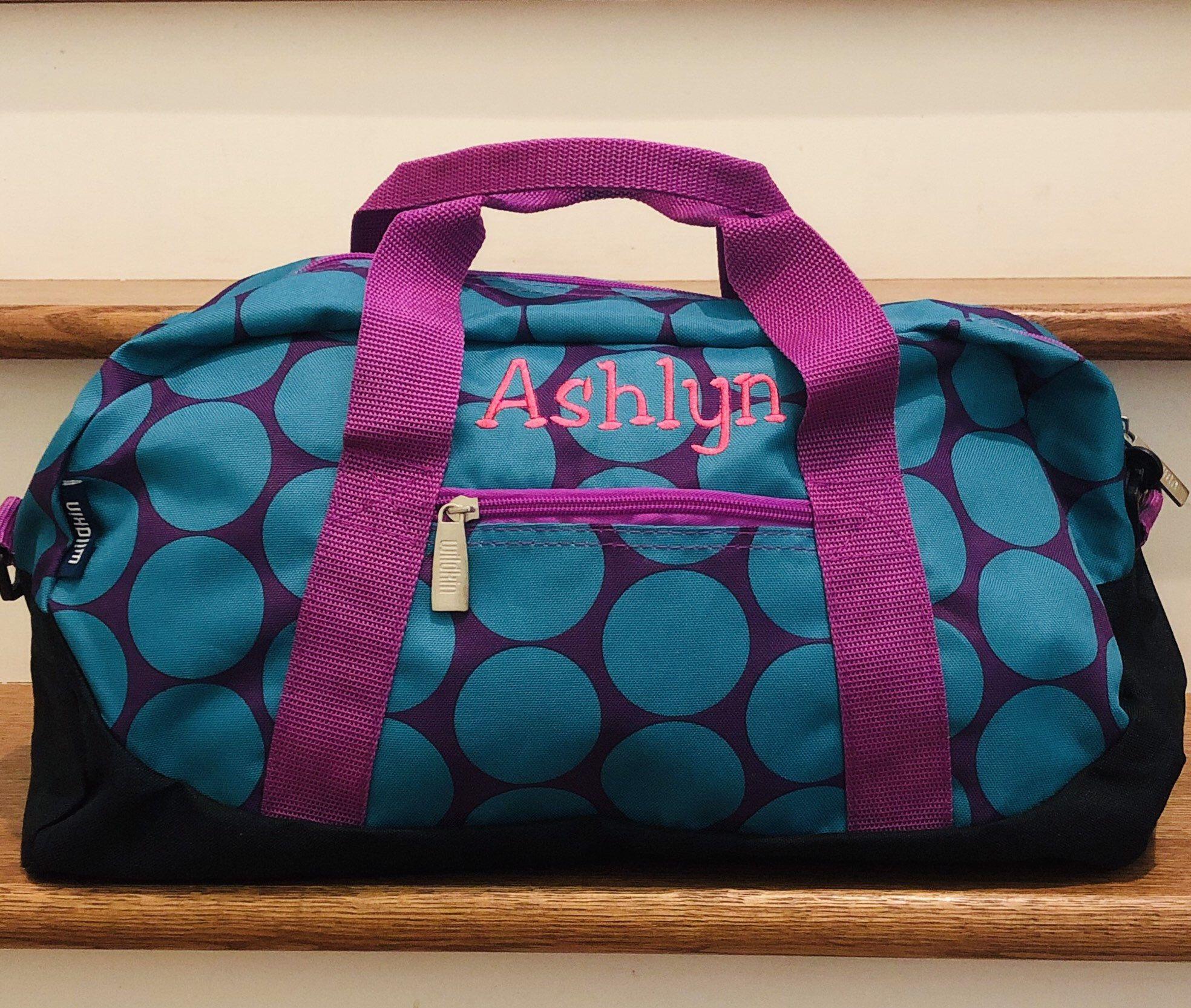 Personalized Girls Luggage Custom Girls Duffle Bag Polka Dot