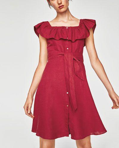 Zara Dan 4 Volanli Keten Elbise Resmi Yaz Elbisesi Elbise Zara