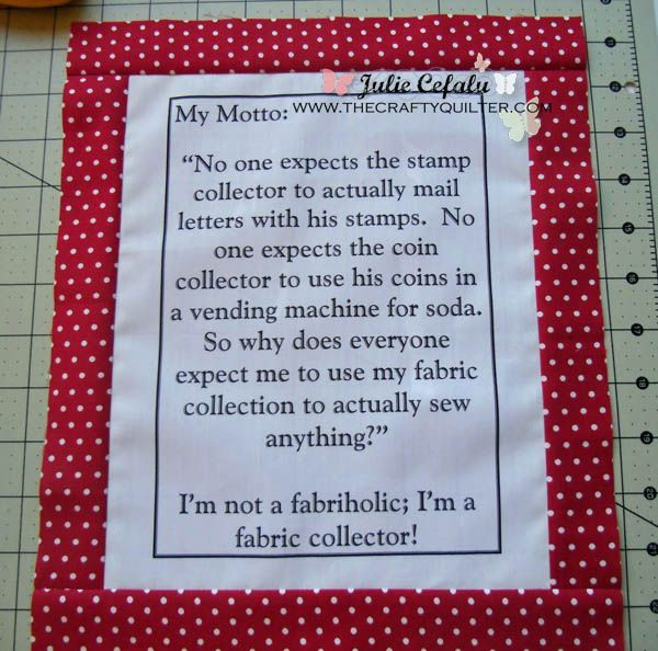 Quilter's Motto from The Crafty Quilter