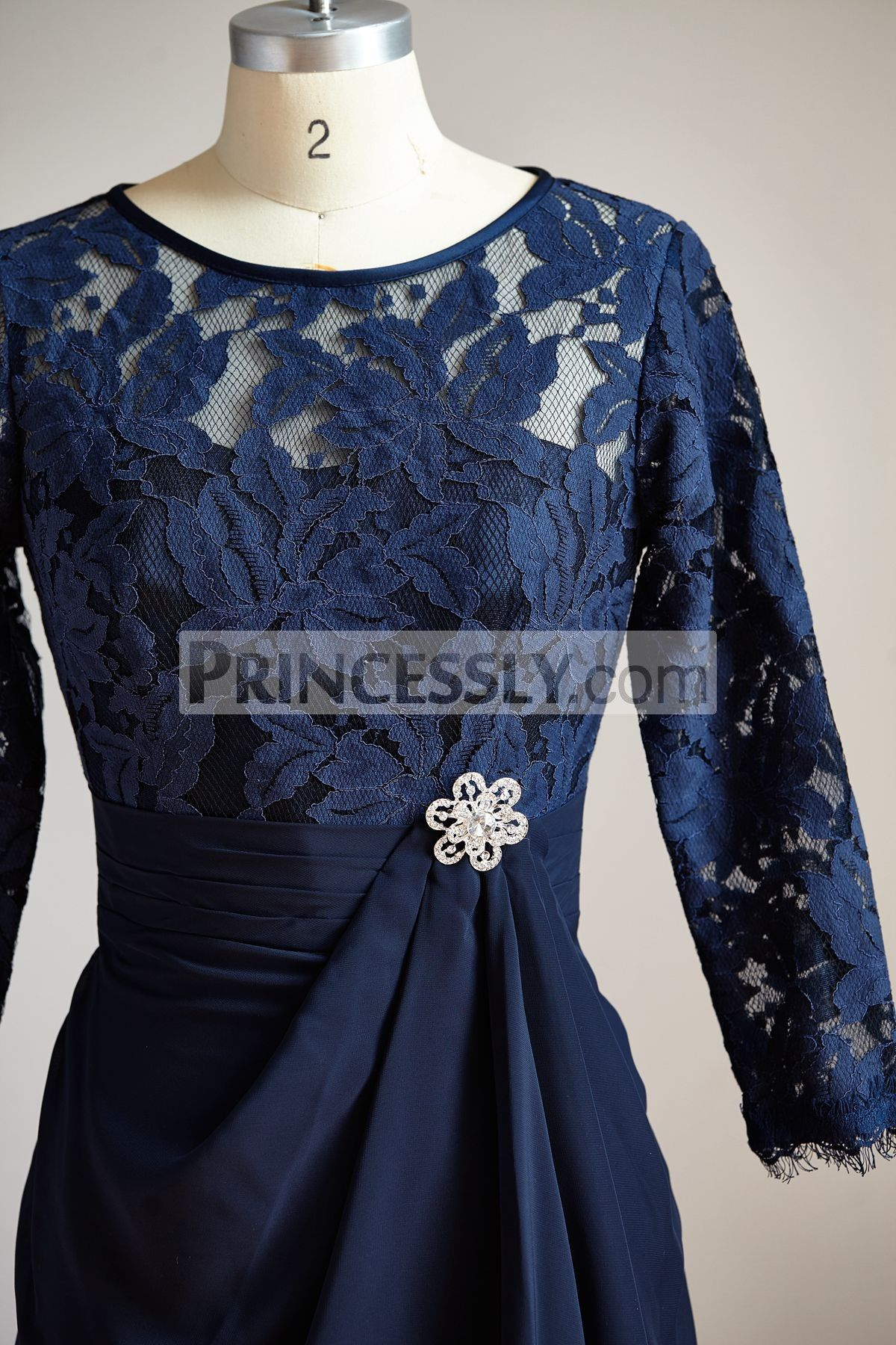 Long sleeves navy blue chiffon lace short knee length mother dress