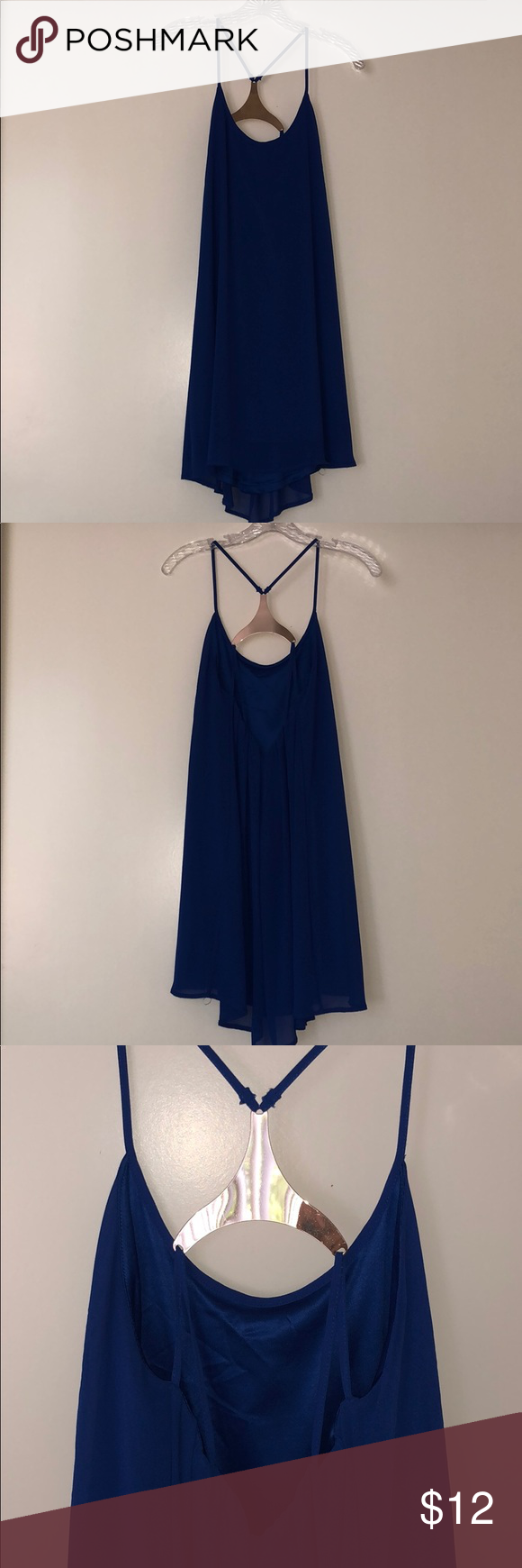 Blue Cocktail Dress w/ Gold Back See headless pic for realistic color / a glimpse of the back. Would not recommend wearing those shoes tho (lmao) Oh My Love Dresses Backless #backlesscocktaildress