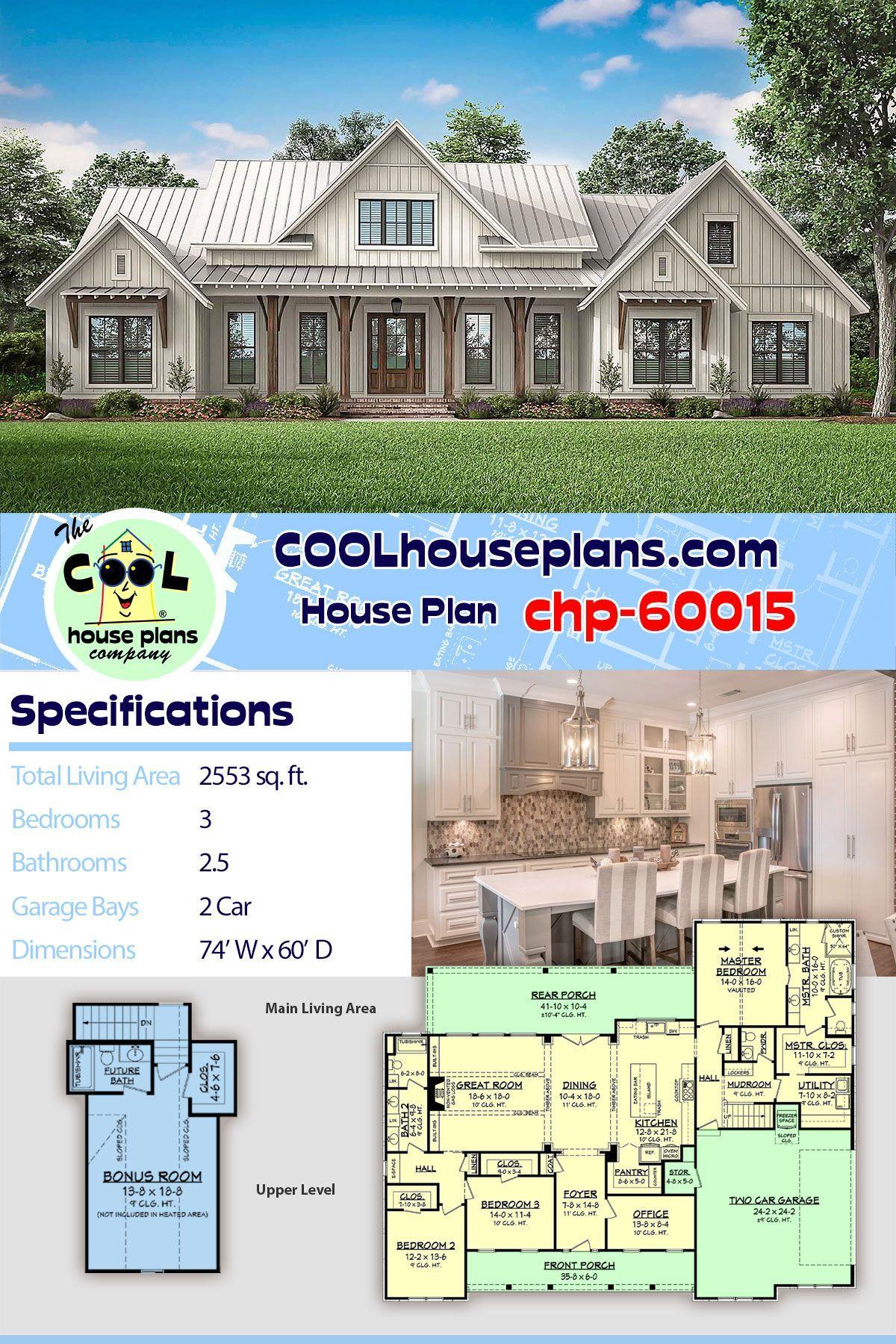 New Modern Farmhouse Home Plan Chp 60015 At Cool House Plans 2553 Sq Ft 3 Beds 2 5 Bat In 2020 Farmhouse Style House Plans Best House Plans House Plans Farmhouse
