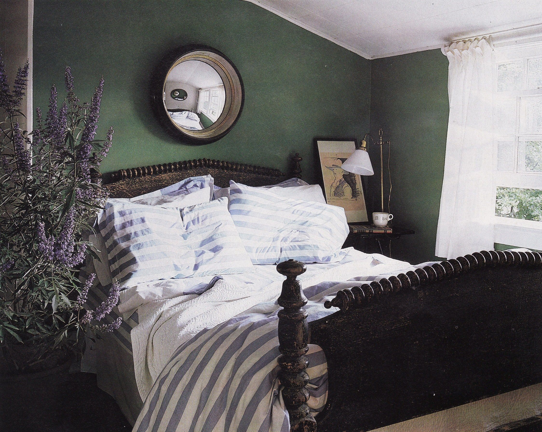Green cottage bedroom by Fox-Nahem via http://tokyojinja.com/2011/01/20/gorgeous-green-rooms-inspired-by-a-bamboo-forest/?blogsub=confirming=confirming#blog_subscription-3