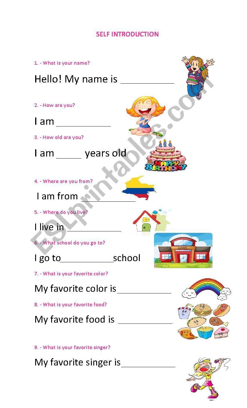 Self introduction - ESL worksheet by keyger20   Kindergarten worksheets [ 1400 x 850 Pixel ]