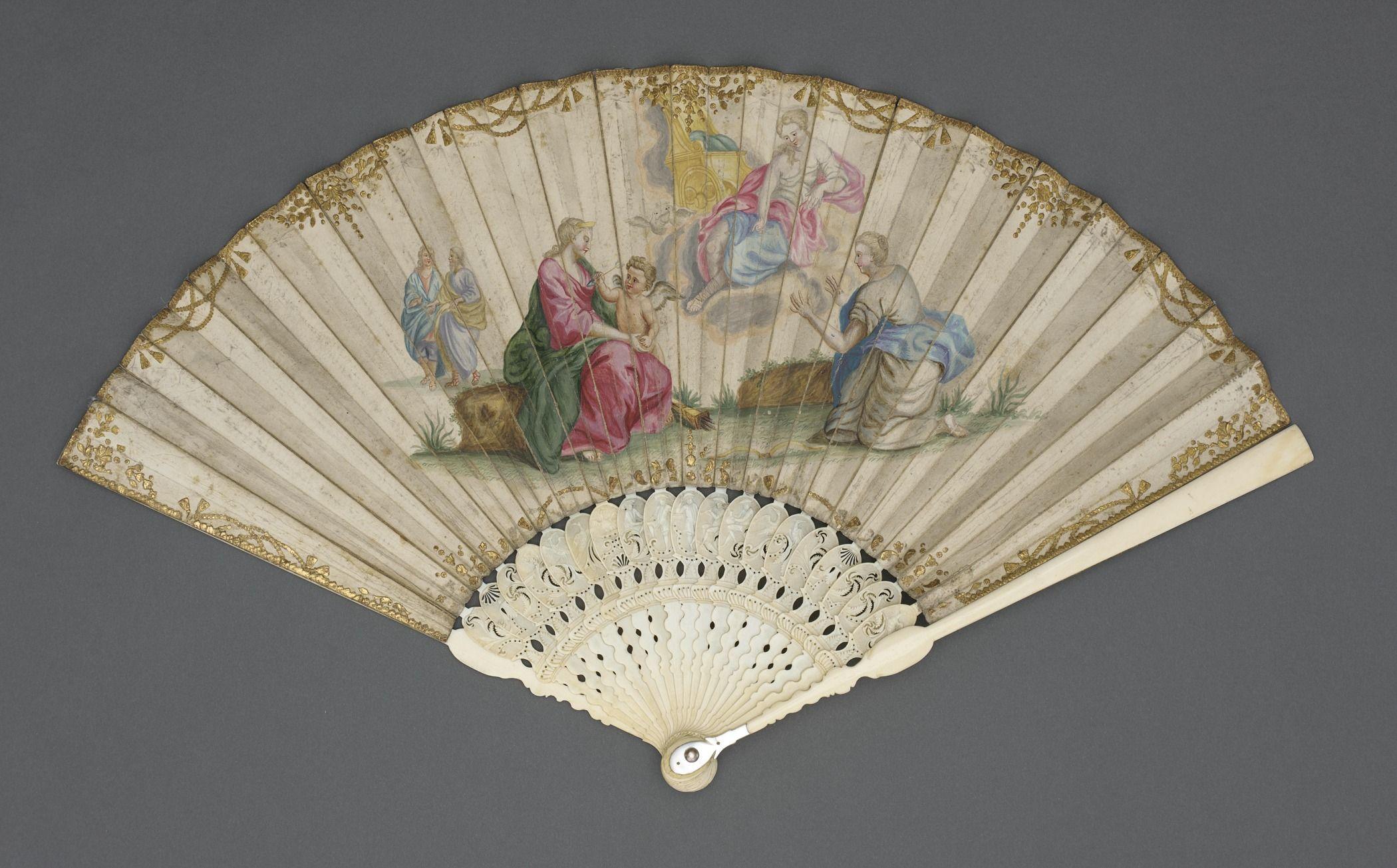 Folding Fan with Scene of Venus and Cupid | France, circa 1720. Vellum leaf, ivory sticks.
