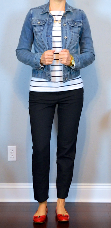 58e5c60bd135 outfit post: jean jacket, striped shirt, black ankle pants, red bow flats