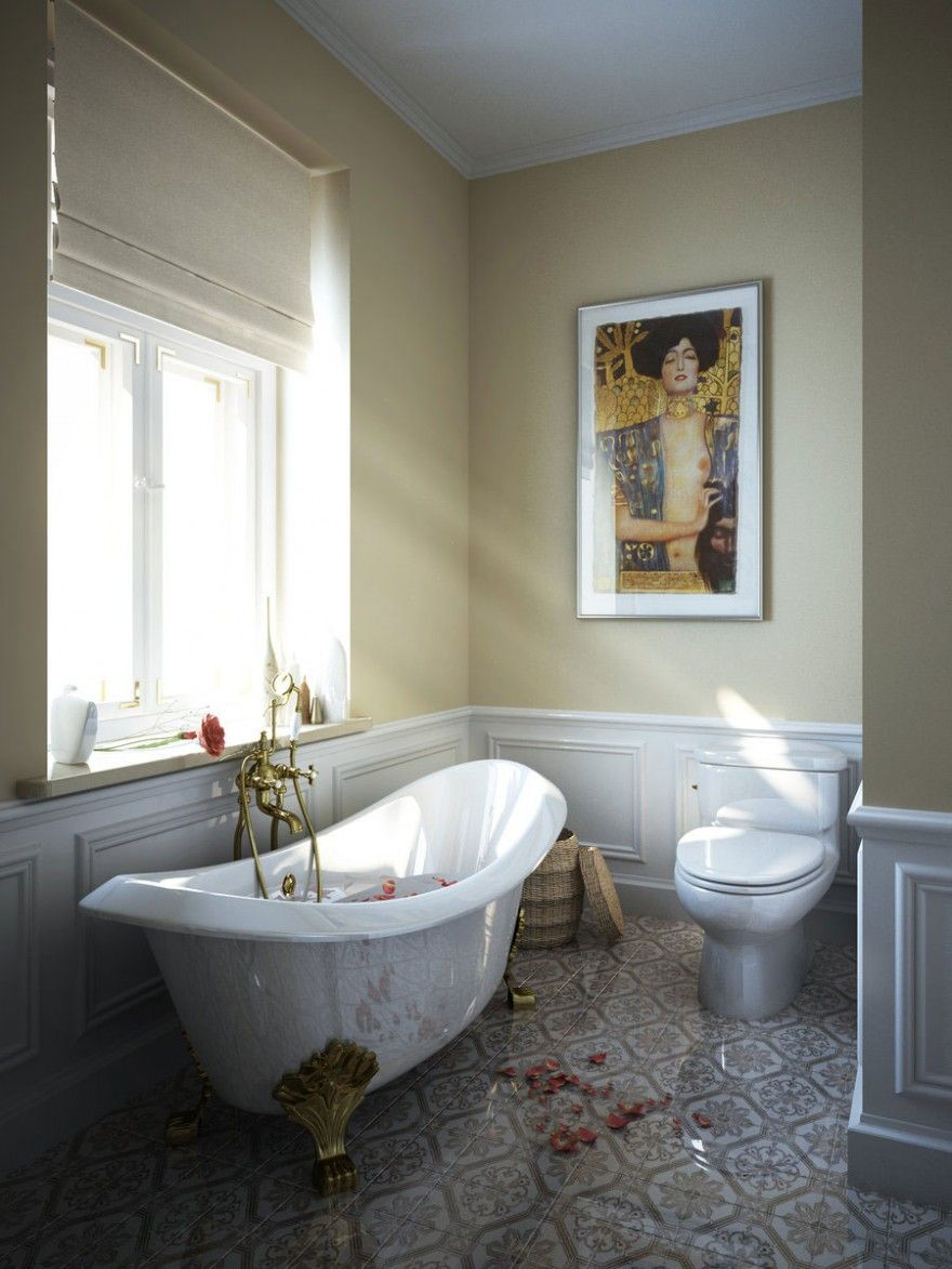 22 Stunning Bathrooms With Claw-Foot Tubs | Flooring types, Ceramic ...