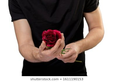 Close up photo of Man holding red roses in hands day