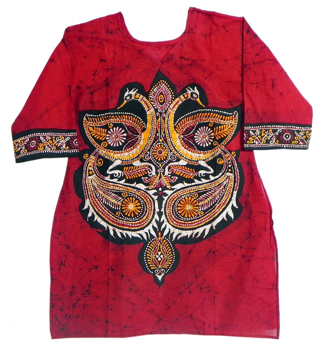 Batik Painted Two Peacocks On Red Kurta With Three Quarter