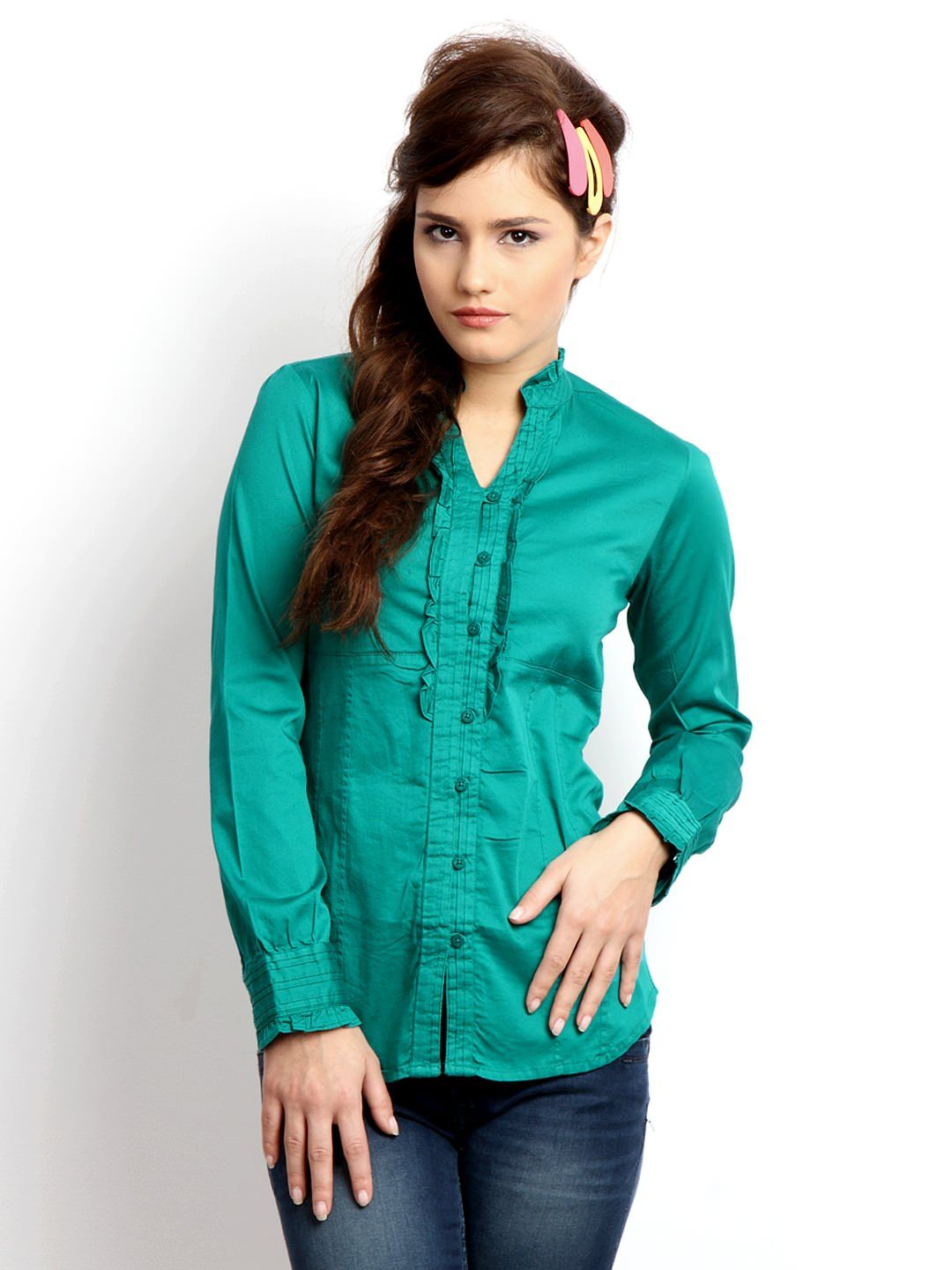 83024a5e3d41c6 Pepe-Jeans-Women-Green-Shirt Latest Ladies Tops and Shirts By Best Brands